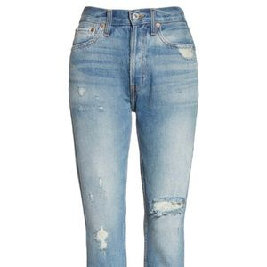 RE/DONE high rise rigid skinny jeans destroy 26